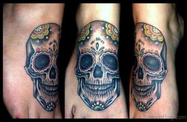 Colored Skull Tattoo Design