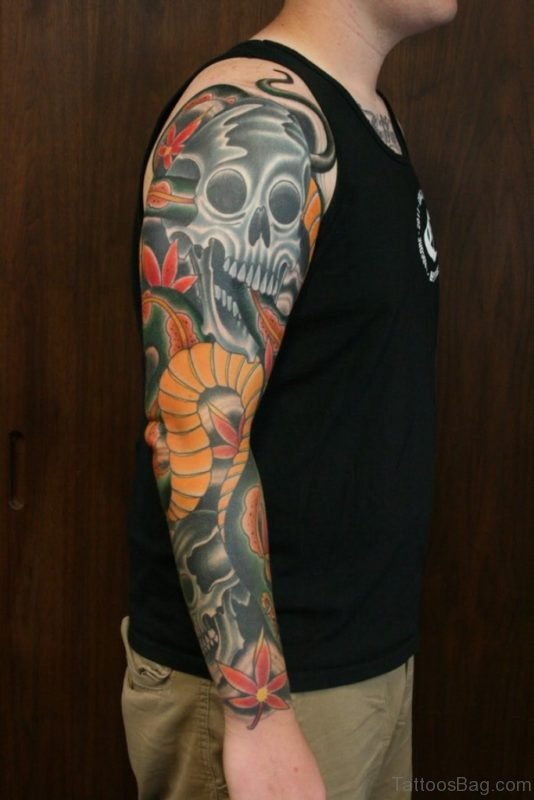 Colored Skull Tattoo Full Sleeve Tattoo