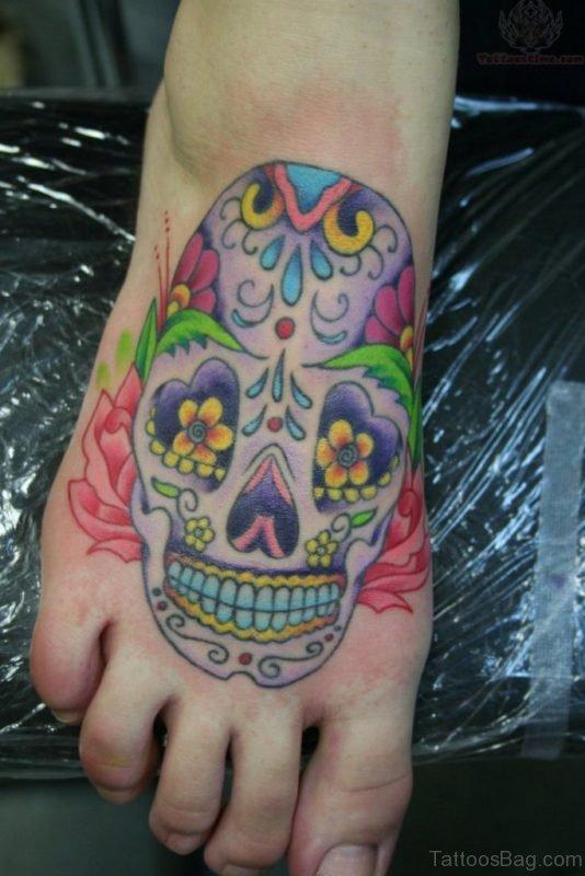 Colored Skull Tattoo O Foot