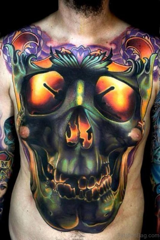 Colored Skull Tattoo On Chest
