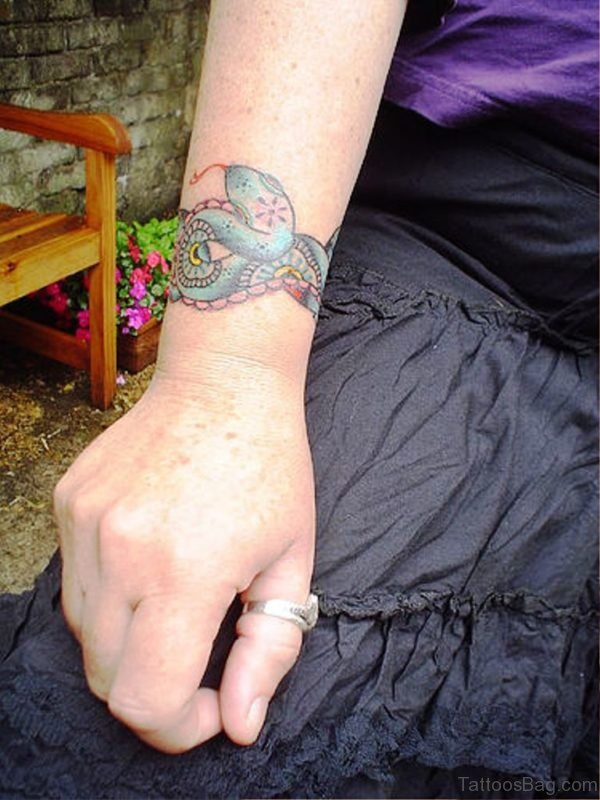 Colored Snake Tattoo On Wrist