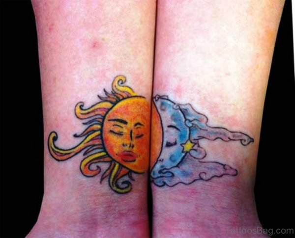 Colored Sun Moon Tattoo On Wrist