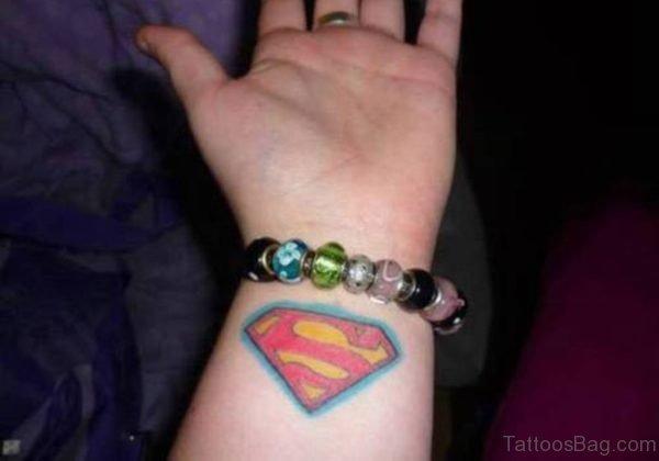 Colored Superman Wrist Tattoo