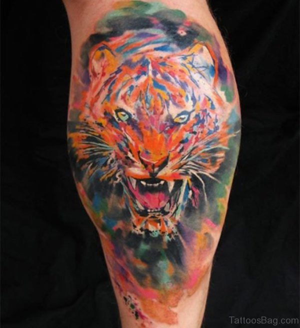 Colored Tiger Tattoo On Leg