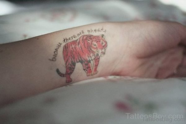 Colored Tiger Tattoo On Wrist