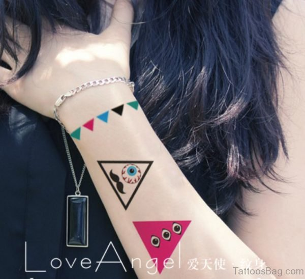 Colored Triangle Tattoo On Wrist