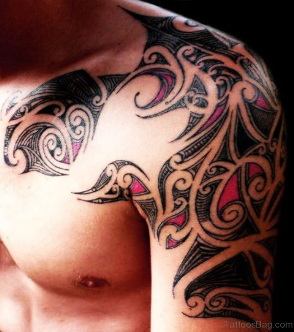 Colored Tribal Shoulder Tattoo