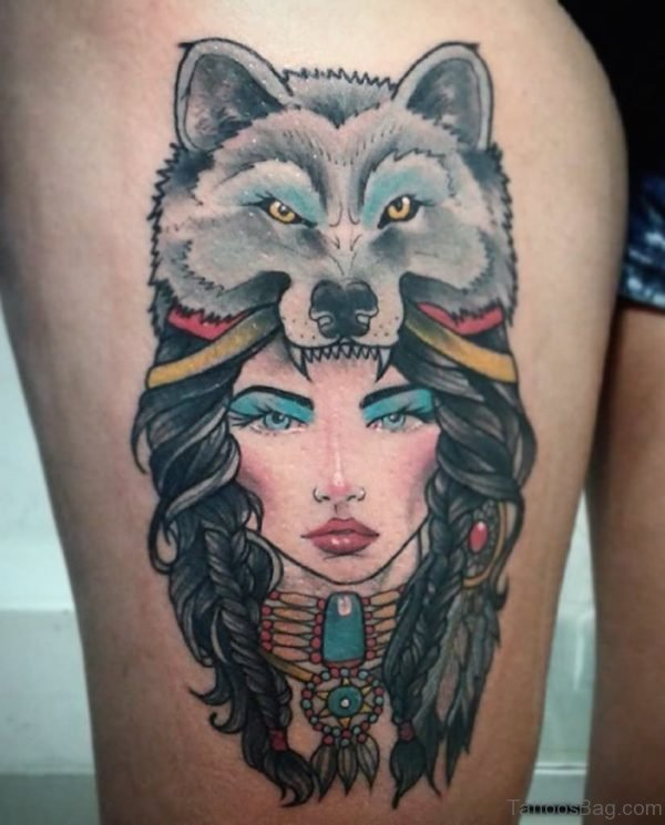 Colored Wolf Girl Tattoo On Right Thigh