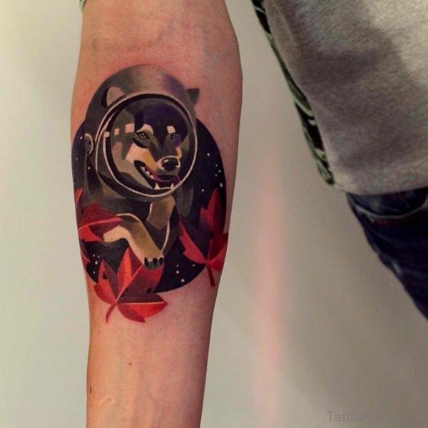 Colored Wolf Tattoo