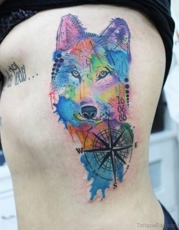 Colored Wolf Tattoo On Rib