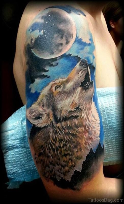 Colored Wolf Tattoo On Shoulder