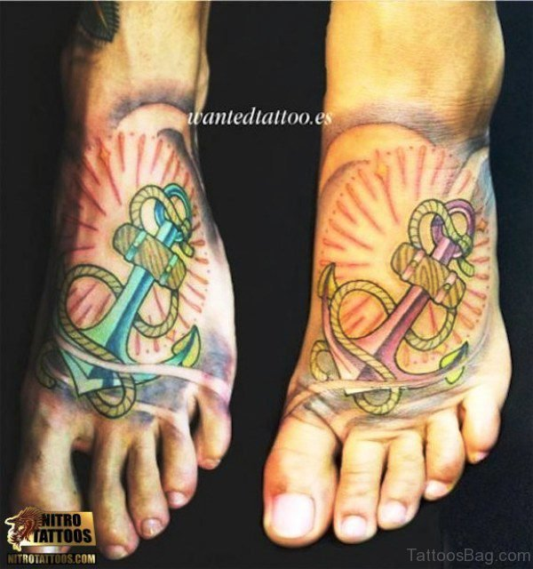 Colorful Anchor Tattoo On Feet