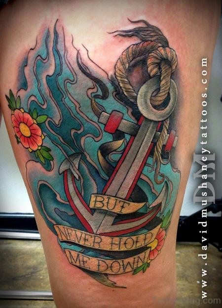 Fantastic anchor tattoos on thigh for Colorful thigh tattoos
