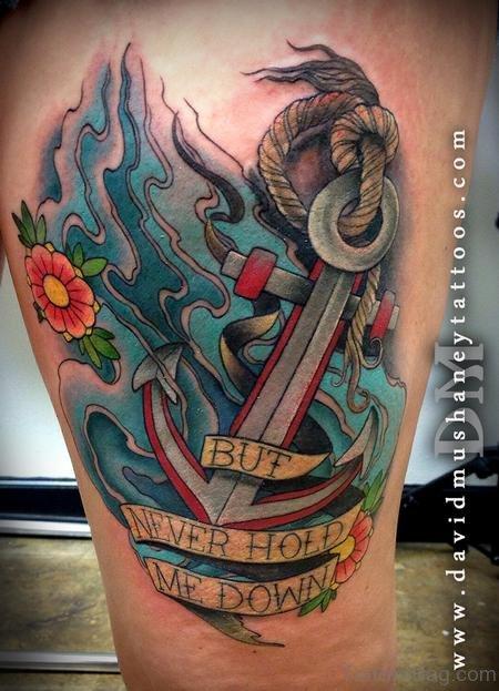 Colorful Anchor Thigh Tattoo