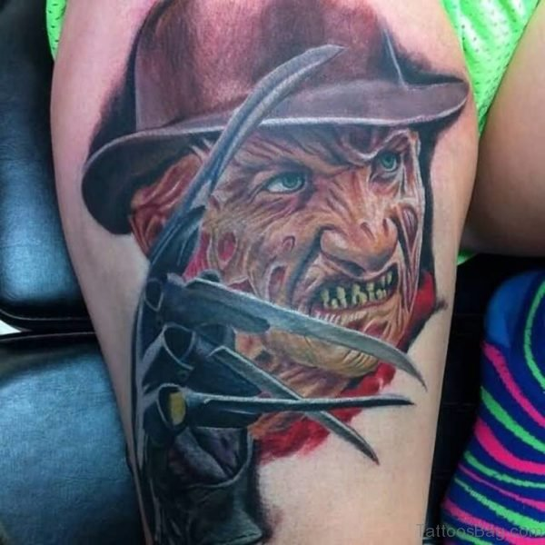 Colorful Angry Freddy Krueger Portrait Tattoo