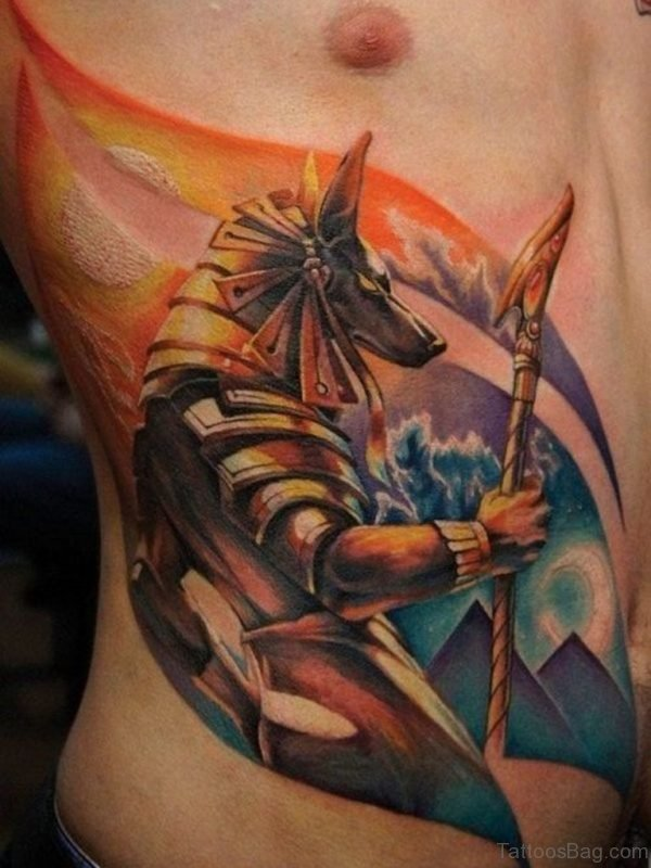 Colorful Animated Egyptian Tattoo On Men Rib