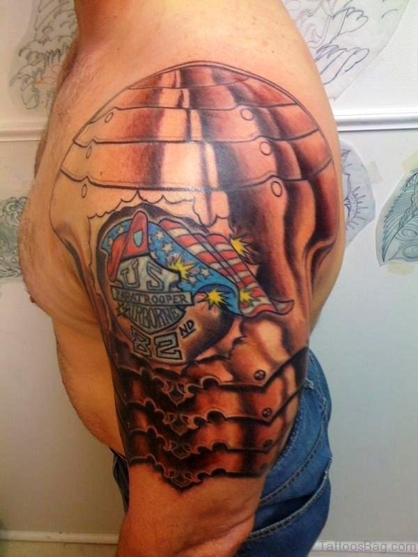 Colorful Armour Shoulder Tattoo Design