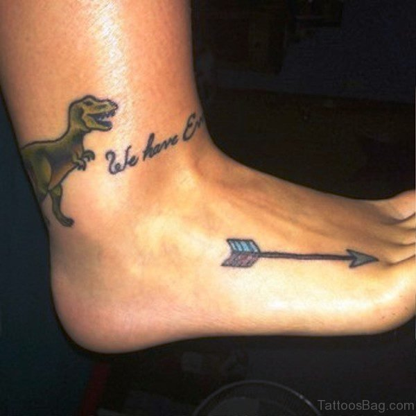 Colorful Arrow Tattoo On Foot