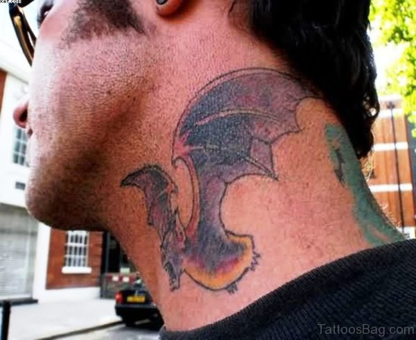 Colorful Bat Tattoo On Neck