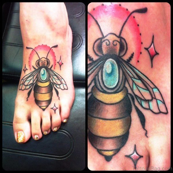 Colorful Big Bee Tattoo On Foot