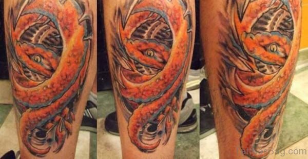 Colorful Biomechanical Tattoo