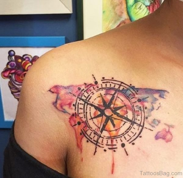 Colorful Bird with Compass Tattoo