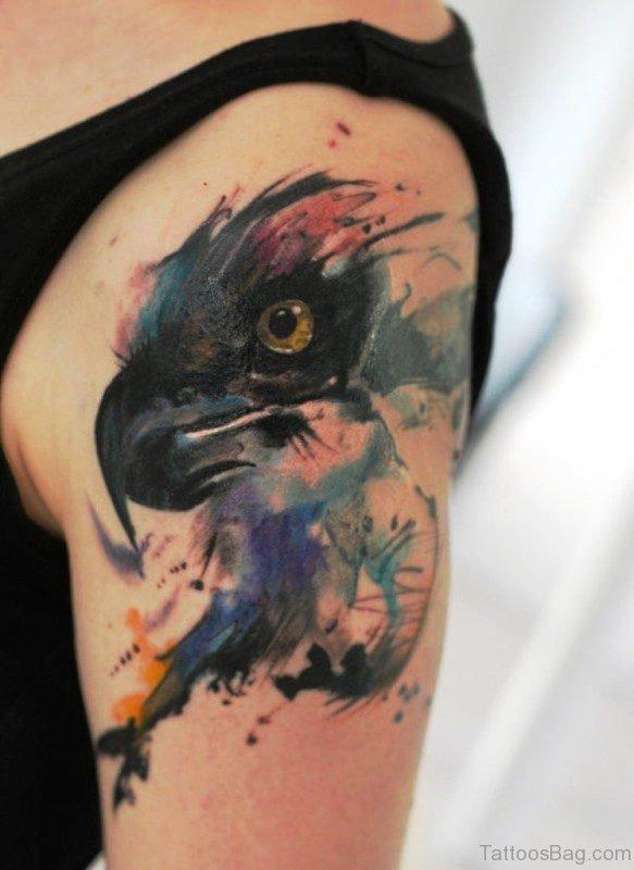 Colorful Black Eagle Tattoo Design