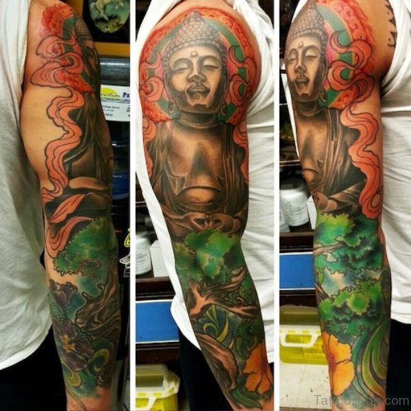 Colorful Buddha Tattoo Full Sleeve