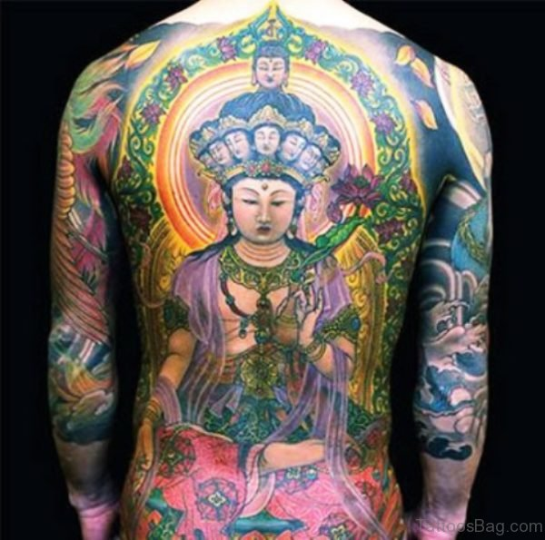 Colorful Buddha Tattoo On Back