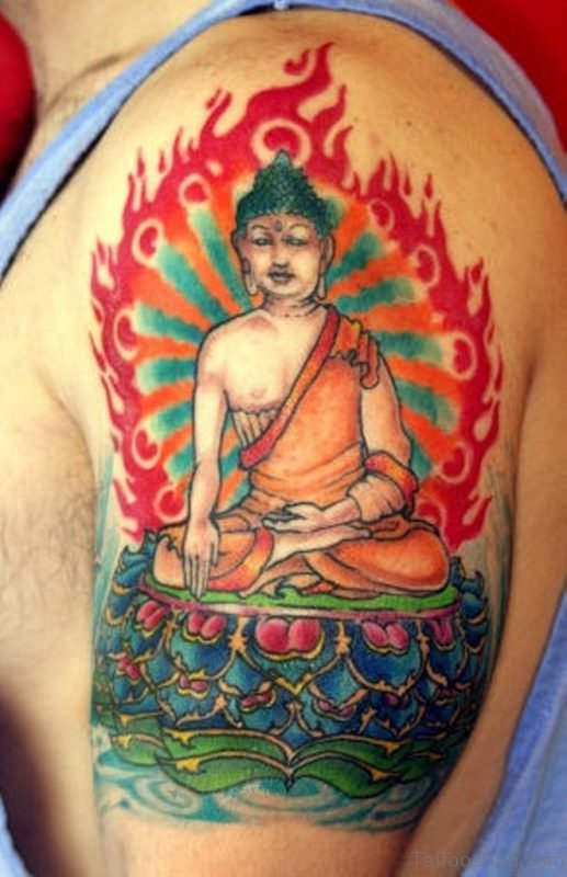 Colorful Buddha Tattoo On Shoulder