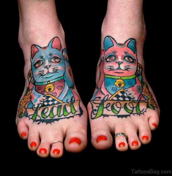 Colorful Cats Tattoo On Feet