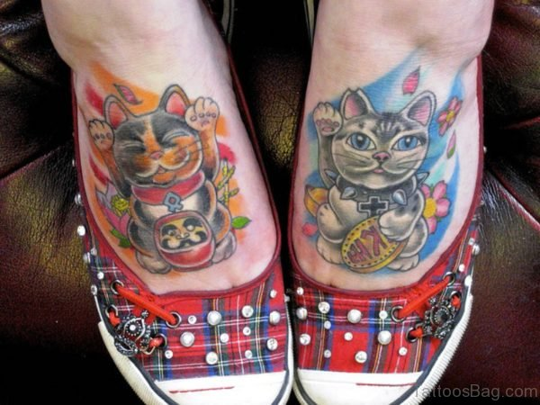 Colorful Cats Tattoos Design On Feet