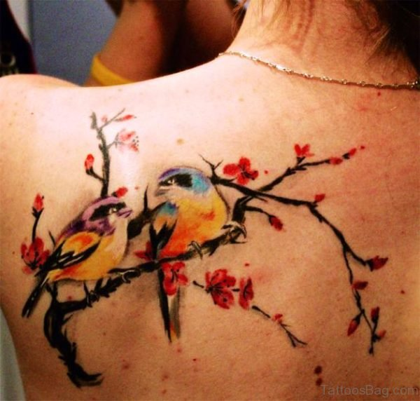 Colorful Cherry Blossom Flower And Bird Tattoo