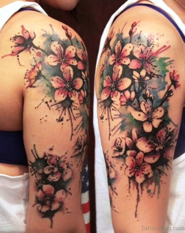Colorful Cherry Blossom Flower Tattoo