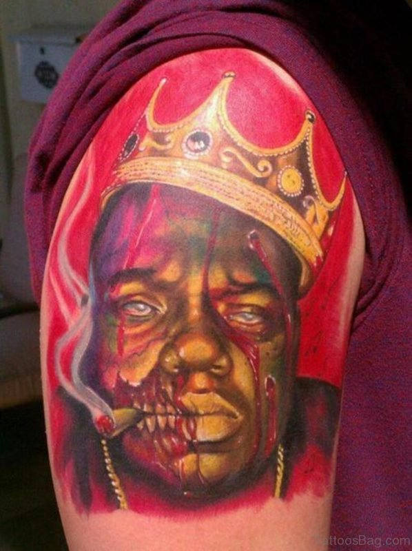 Colorful Crown On Zombie Head Tattoo On Shoulder