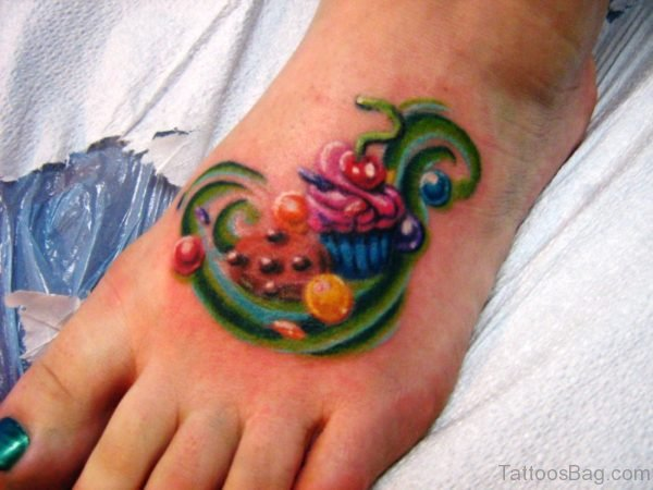 Colorful Cupcake Tattoo On Foot