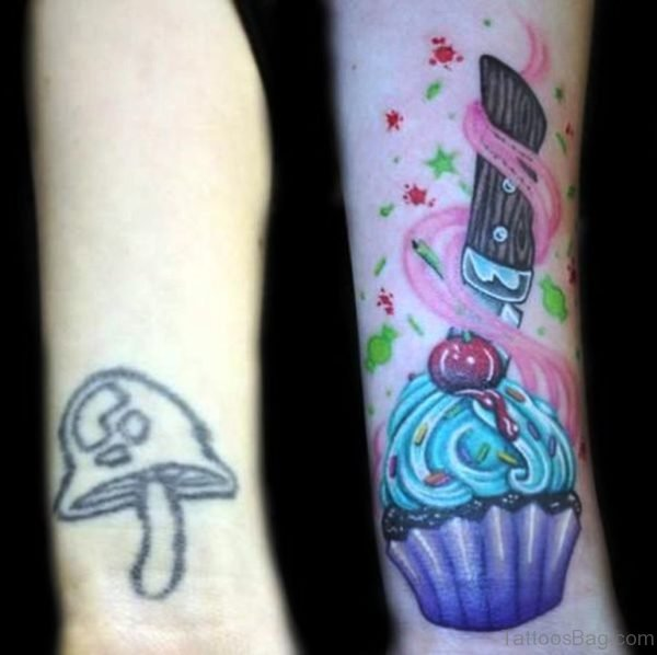 Colorful Cupcake Tattoo On Wrist