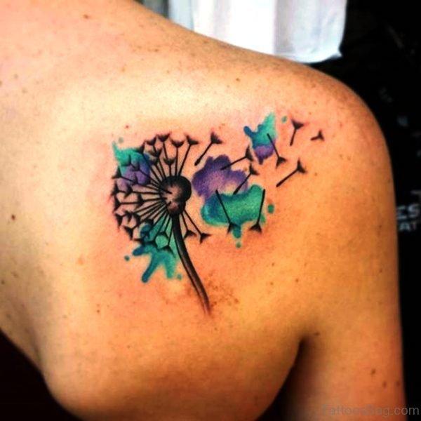 Colorful Dandelion Tattoo Design