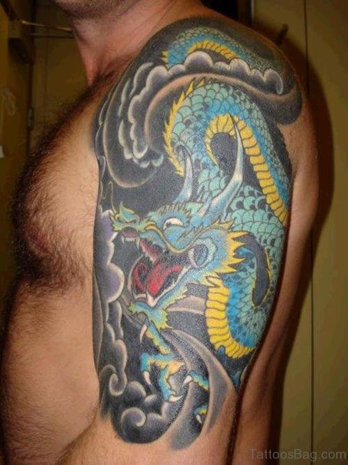 Colorful Dragon Tattoo Design On Shoulder