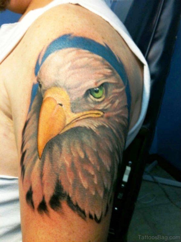 Colorful Eagle Shoulder Tattoo