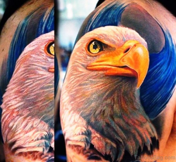 Colorful Eagle Tattoo On Right Shoulder