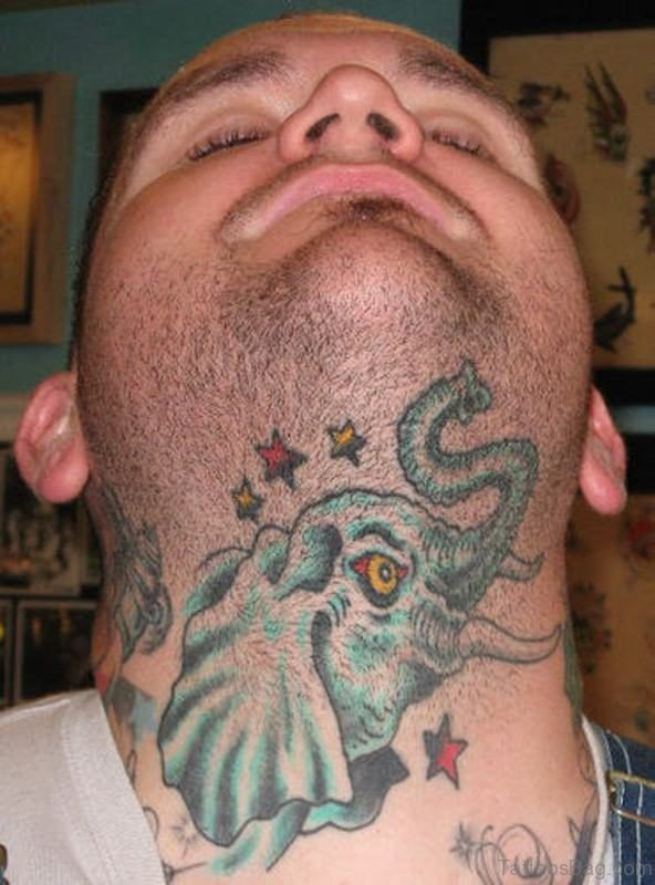 Colorful Elephant Tattoo On Front Neck