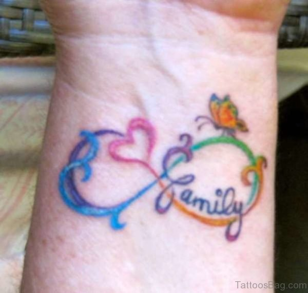 Colorful Family Infinity Tattoo On Wrist