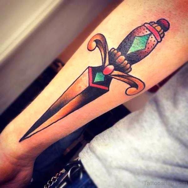 Colorful Fantastic Dagger Tattoo On Arm