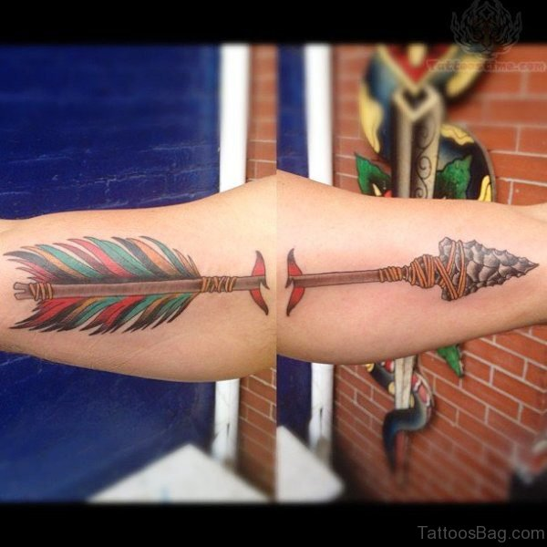 Colorful Feather Arrow Tattoo On Arm