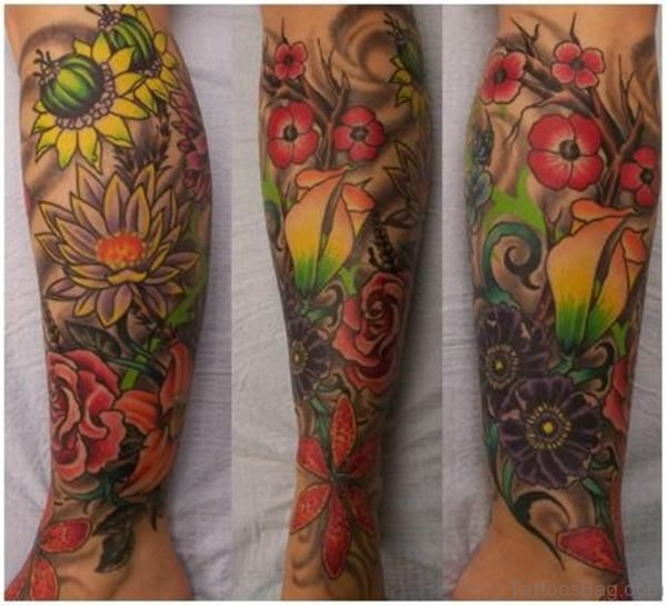Colorful Flowers Tattoo On Leg
