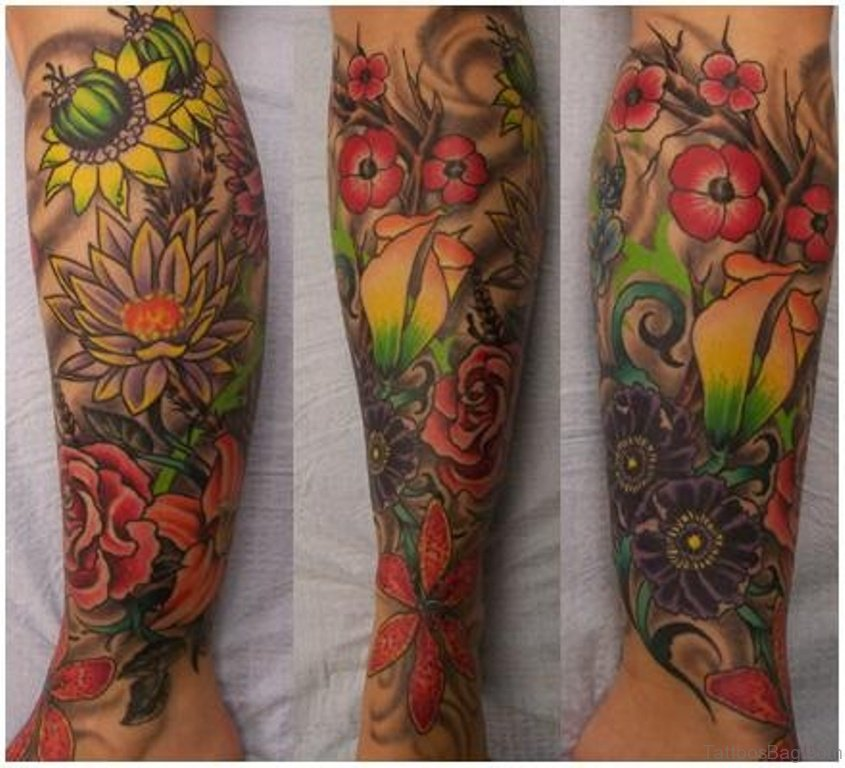 6009be674 50 Elegant Flowers Tattoos On Leg