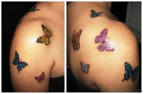 Colorful Flying Butterflies Tattoo