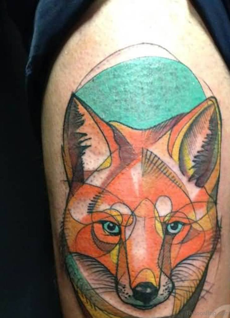 92 fabulous fox tattoos on thigh for Colorful thigh tattoos