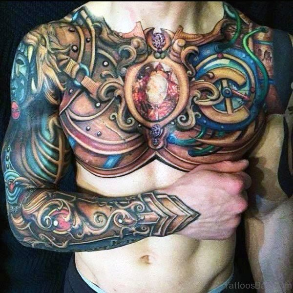 Colorful Full Chest Armour Tattoo